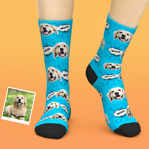 Custom Face Socks Add Pictures And Name - Comic Style Dog