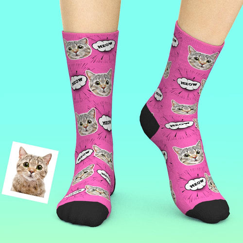 Custom Face Socks Add Pictures And Name - Comic Style Cat