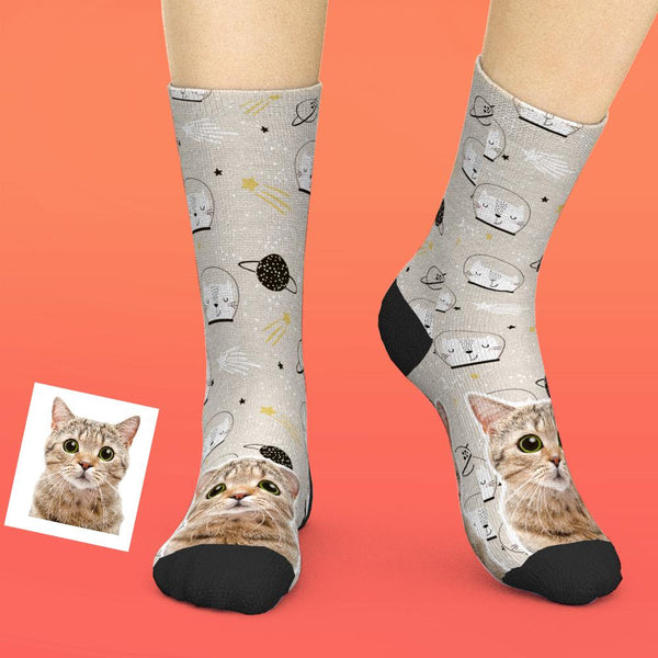 Custom Face Socks Add Pictures And Name - Cute Full Body Kitten