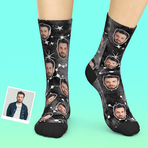 Custom Face Socks Add Pictures And Name - Constellations