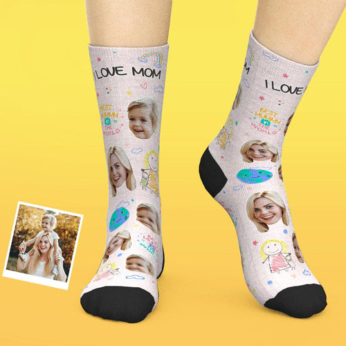 Custom Face Socks Add Pictures And Name Mother's Day Gift - Best Mummy In The World