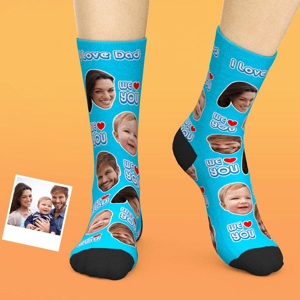 Custom Face Socks Add Pictures And Name Father's Day Gift - We Love You