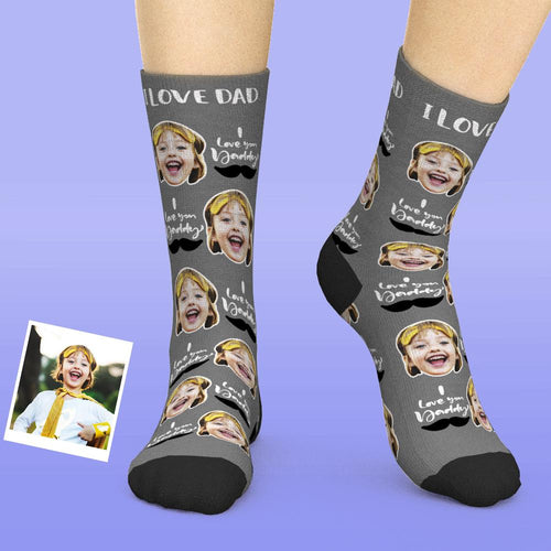 Custom Face Socks Add Pictures And Name Father's Day Gift - I Love You Daddy
