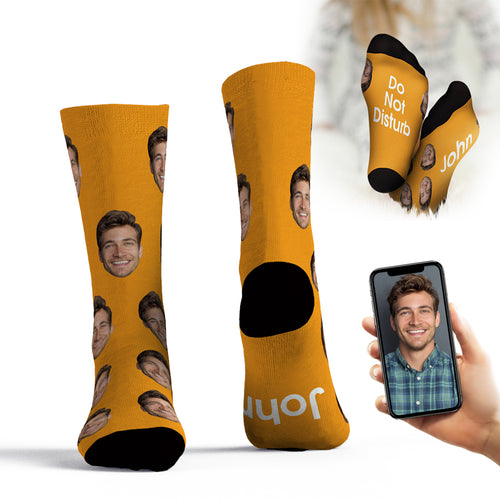 Custom Face Socks Add Pictures And Name Father's Day Gift - Do Not Disturb John