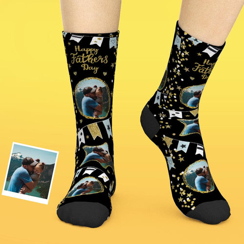 Custom Face Socks Add Pictures And Name Father's Day Gift - Happy Father's Day