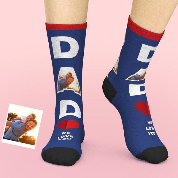 Custom Face Socks Dad We Love You Gifts For Dad
