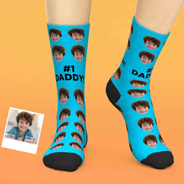 Custom Face Socks Gifts For Dad #1 Daddy