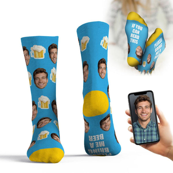 Custom Face Socks If You Can Read This Please Bring Me A Beer