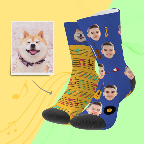 Custom Photo Funny Music Note Two Face Socks