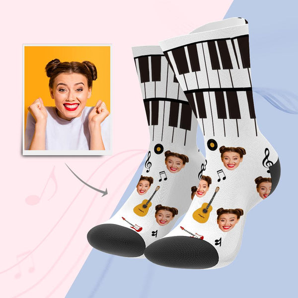 Custom Photo Funny Piano and Music Note Face Socks