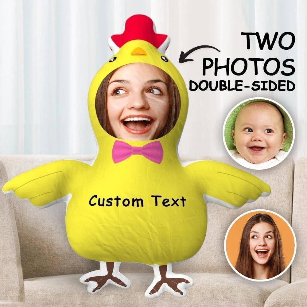 Custom Body Pillow Two Photos Double Sided Custom Text Pillow Gift Funny Chick Shaped