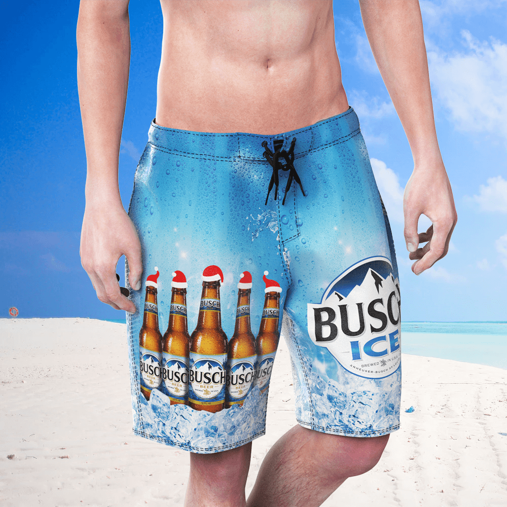 BUSCH Cold Beer Blue Men's Beach Shorts Swim Trunks Water Shorts