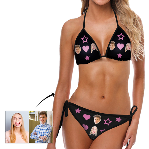 Custom face Photo Heart and Star Bikini Sexy suit