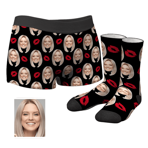 Custom Kiss Boxer Shorts - MyFaceSocks