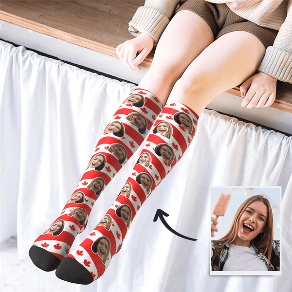Custom Photo Knee High CAN Flag Socks
