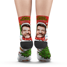 Custom Face Socks Christmas Snowman Socks Add Pictures And Name