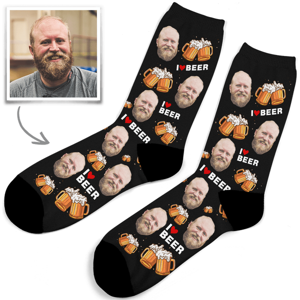 Custom Photo Socks I Love Beer