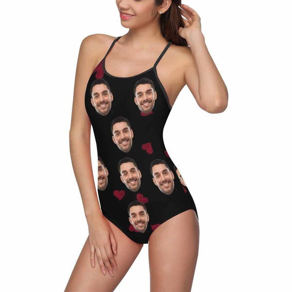 Custom Face Heart Women's Slip One Piece Swimsuit