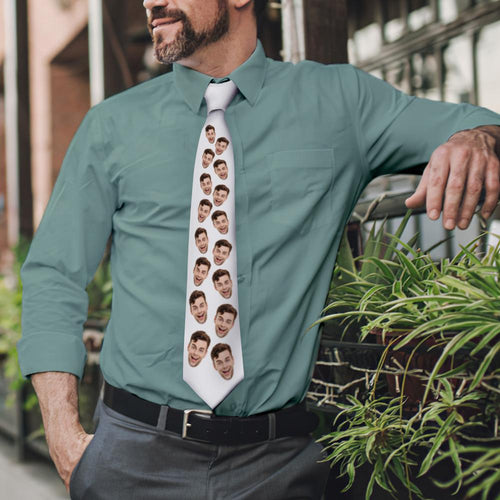 Custom Face On White Necktie