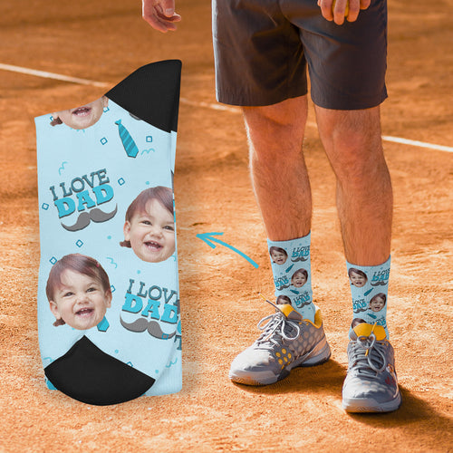 Custom Socks -  I Love Dad (papa)