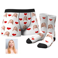 Custom Heart Boxer Shorts - MyFaceSocks