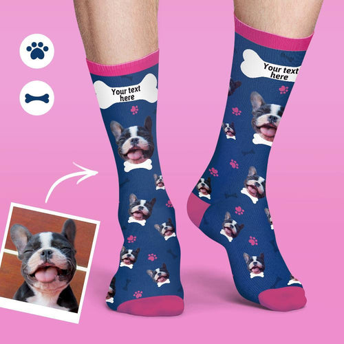 Custom Face Socks Colorful Candy Series Soft And Comfortable Dog Socks - Smoky Blue