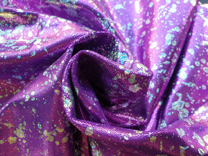 Purple silver splatter foil lycra - In Stock