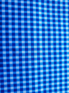 Blue white check print lycra - In Stock