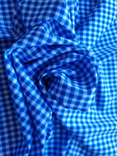 Load image into Gallery viewer, Blue white check print lycra - In Stock