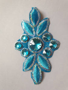 Teal flower jewel motif - In Stock