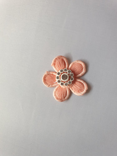 Salmon flower diamante motif - In Stock