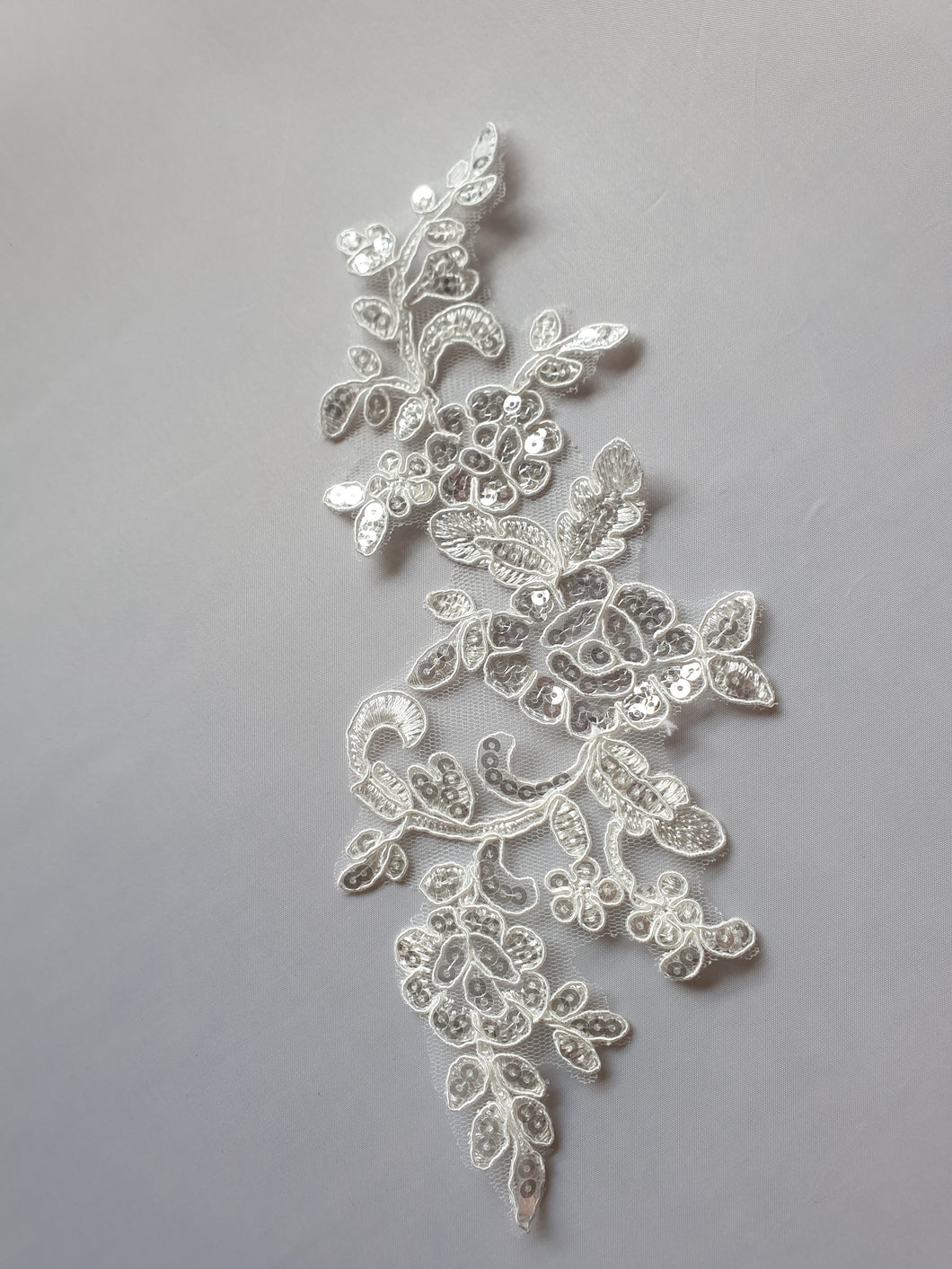 White sequin lace flower motif - In Stock