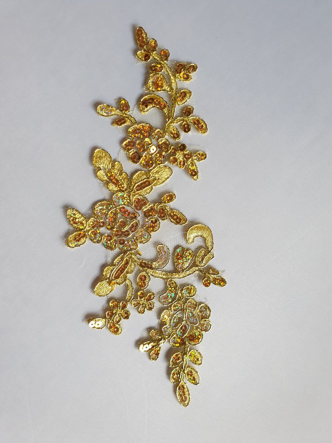 Gold sequin lace flower motif - In Stock