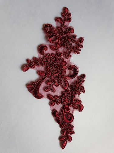 Deep red lace flower motif - In Stock