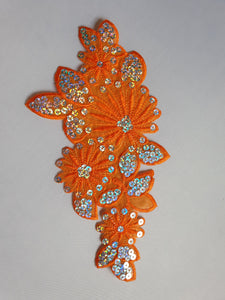 Orange sequin flower motif - In Stock