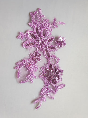 Mauve sequin flower motif - In Stock