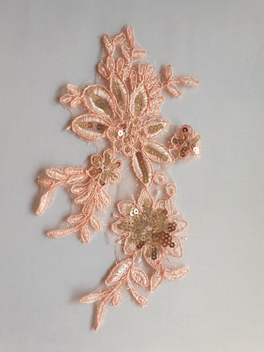 Peach sequin flower motif - In Stock