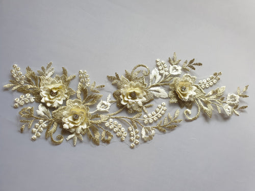 Cream gold diamante lace flower motif - In Stock