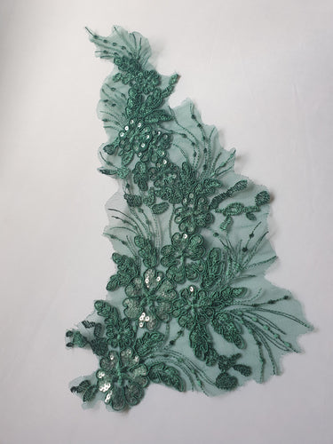 Green sequin lace flower motif - In Stock