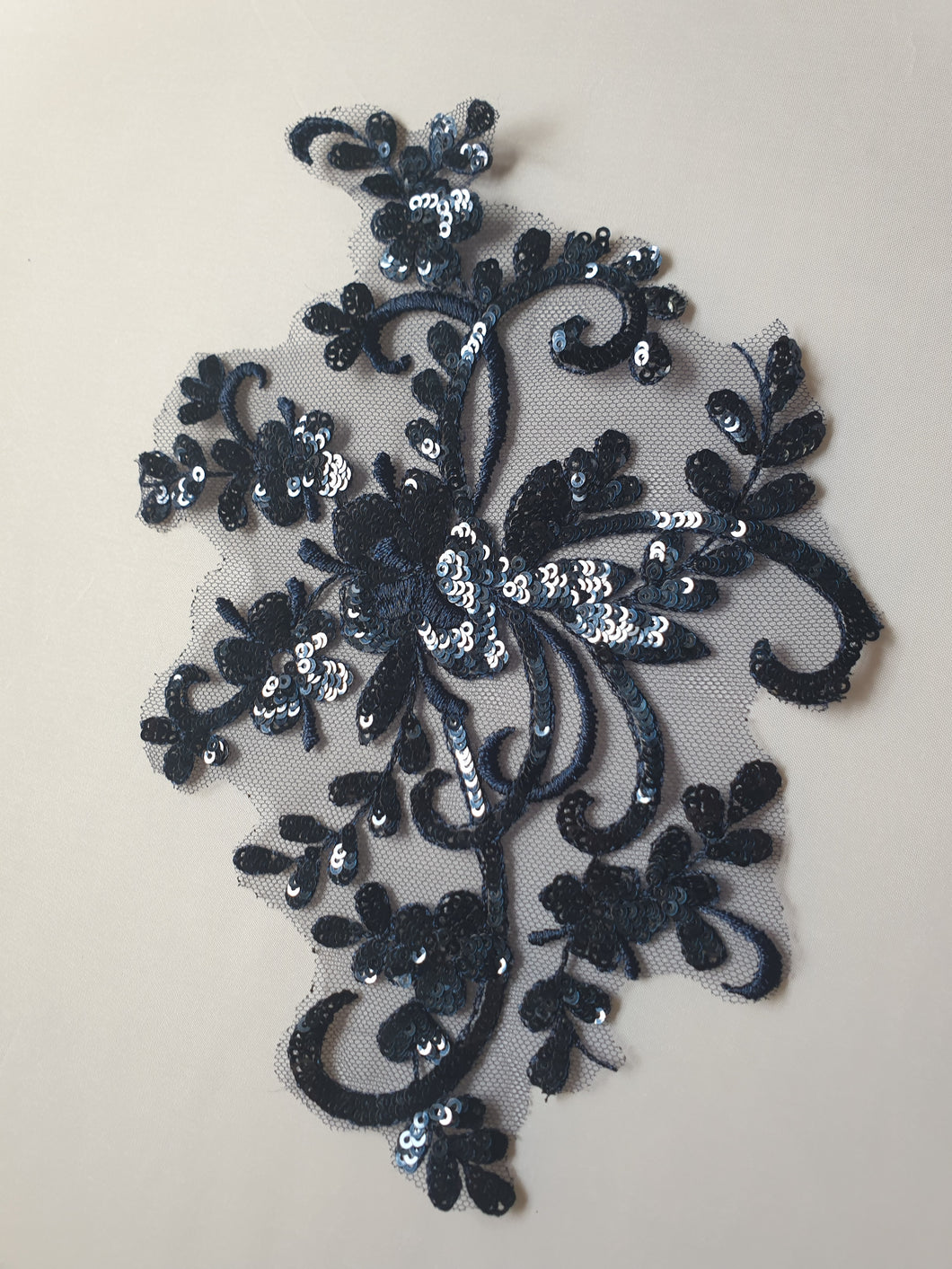 Navy sequin lace flower motif - In Stock