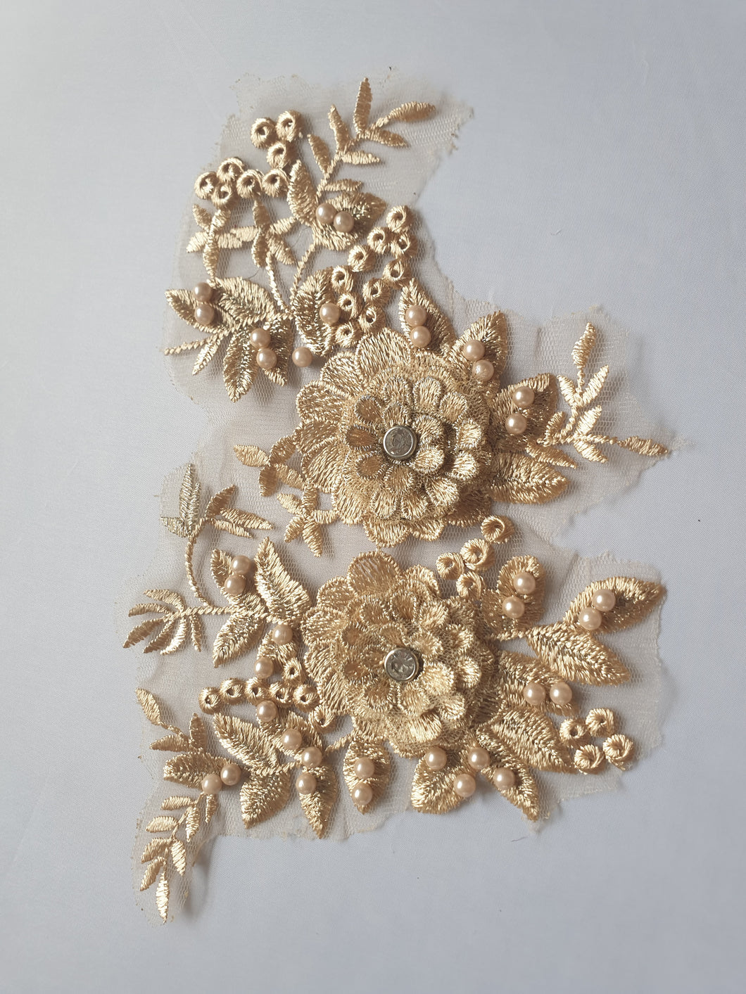 Gold diamante lace flower motif - In Stock