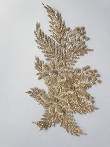 Gold diamante  glitter flower motif - In Stock