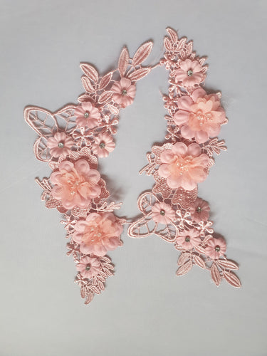 Salmon pink diamante flower motif - In Stock