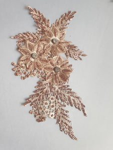 Bronze diamante glitter flower motif - In Stock