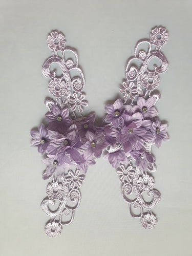 Purple diamante flower motif - In Stock
