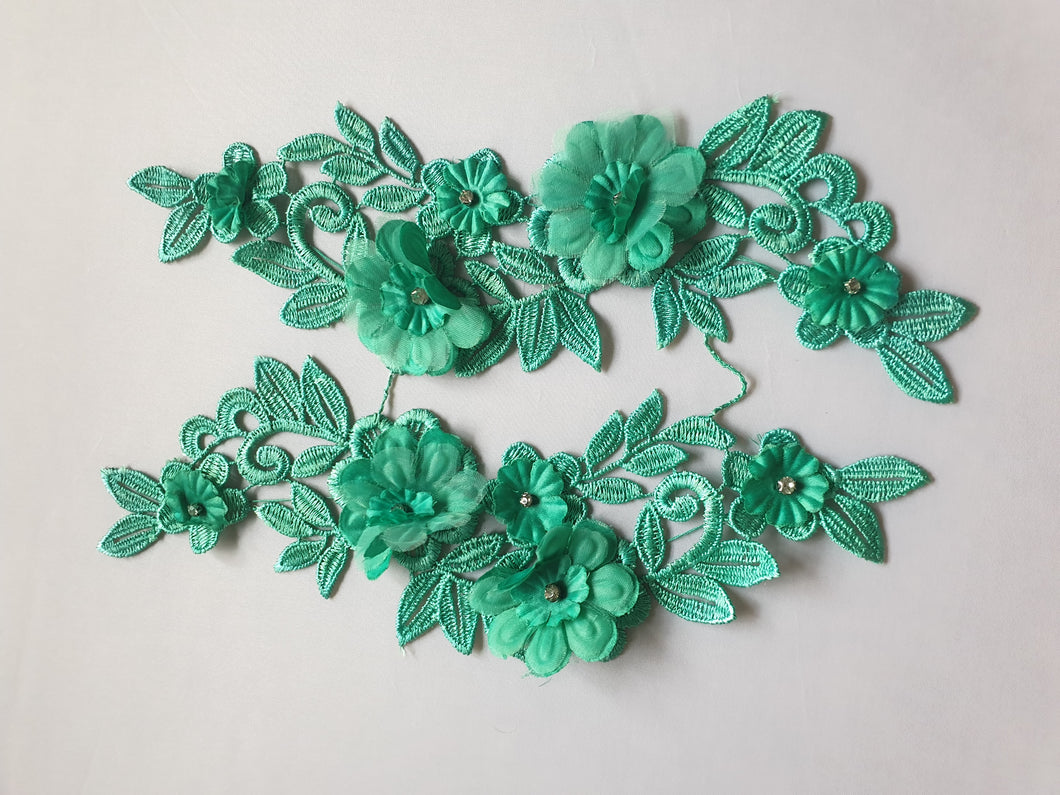 Green diamante lace flower motif - In Stock