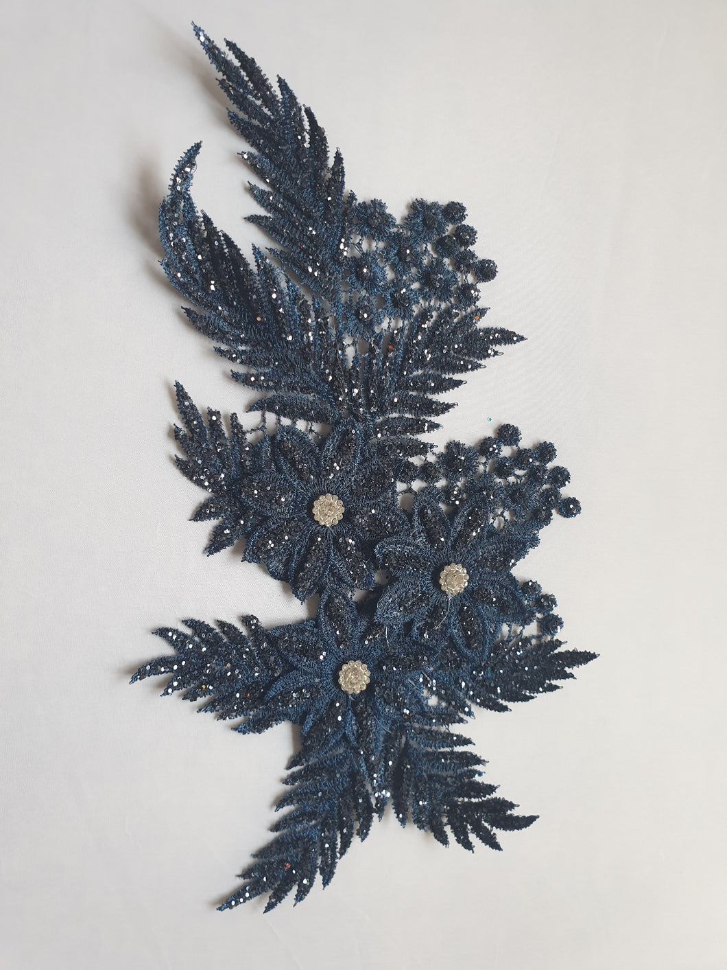 Navy diamante glitter flower motif - In Stock