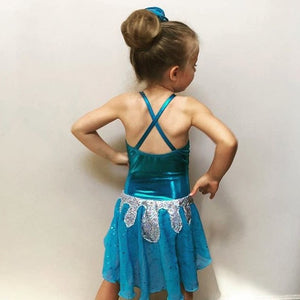 Girls Size 6 - Blue and Silver Dance Leotard - In Stock