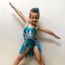 Load image into Gallery viewer, Girls Size 6 - Blue and Silver Dance Leotard - In Stock