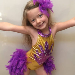 Girls Size 6 - Yellow and Purple Flame Leotard - In Stock